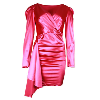JAIMY Ruched satin dress hot pink