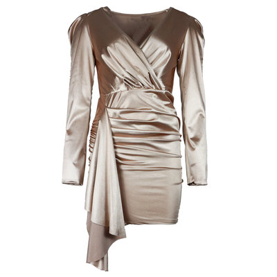 JAIMY Ruched satin dress beige