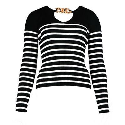 JAIMY Stripe chain top black white