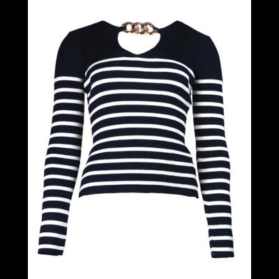 JAIMY Stripe chain top navy white