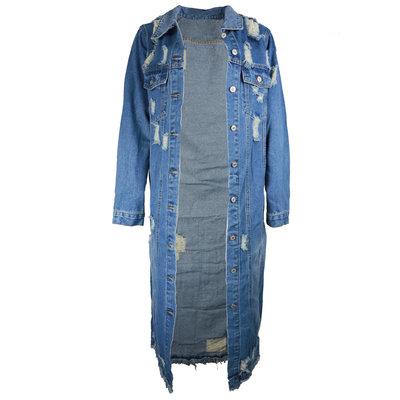 JAIMY Long destroyed denim jacket blue
