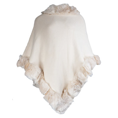 JAIMY Musthave faux fur poncho beige