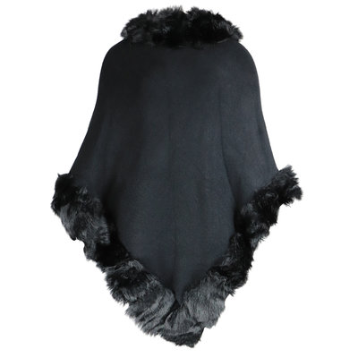 JAIMY Musthave faux fur poncho black