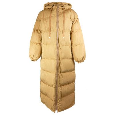 JAIMY Hoody long puffer jacket camel