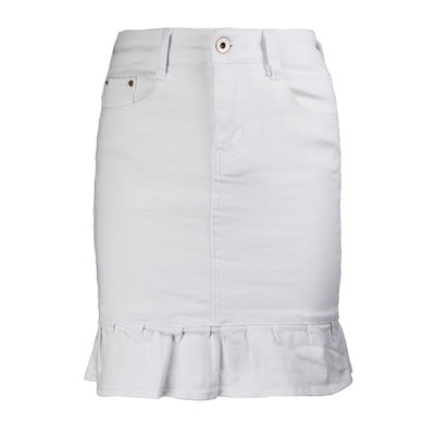 JAIMY Ruffle denim skirt white