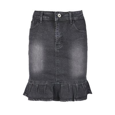 JAIMY Ruffle denim skirt black