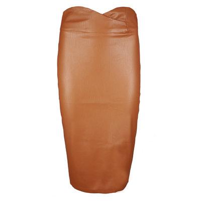 JAIMY Leather pencil skirt camel