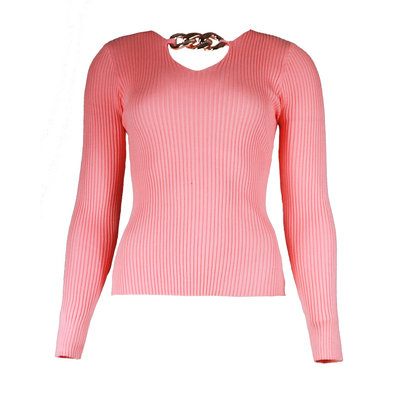 JAIMY Chain detail v-neck top pink