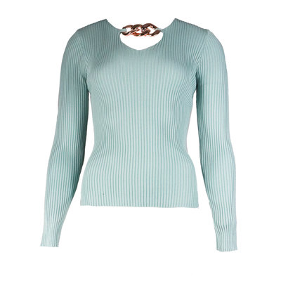 JAIMY Chain detail v-neck top mint