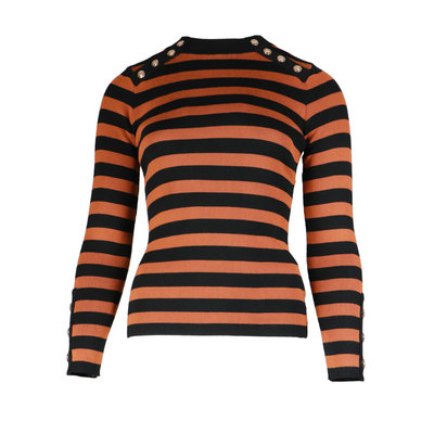 JAIMY Striped gold buttons top camel