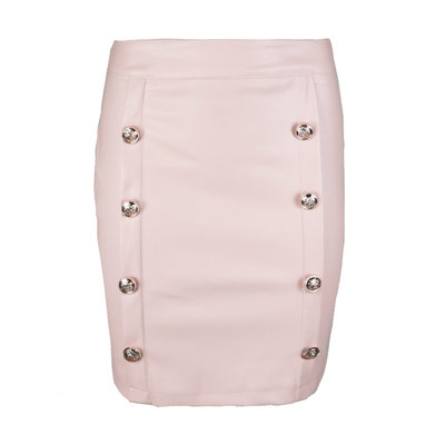 JAIMY Leather look button skirt pink