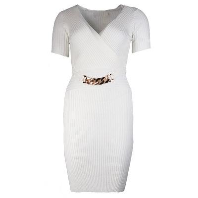 JAIMY Short sleeve chain detail dress white