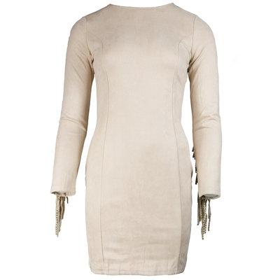 JAIMY Suedine fringe dress beige