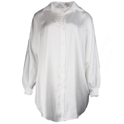 JAIMY Oversized satin blouse dress white