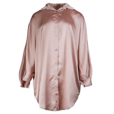 JAIMY Oversized satin blouse dress pink