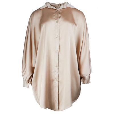 JAIMY Oversized satin blouse dress beige
