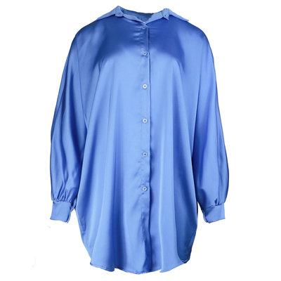 JAIMY Oversized satin blouse dress blue
