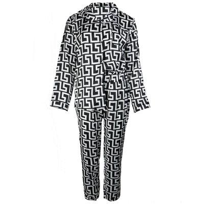 JAIMY Satin look pajamas graphic print white