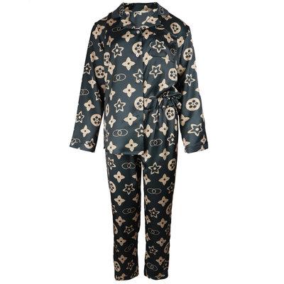 JAIMY Printed satin look pajamas black