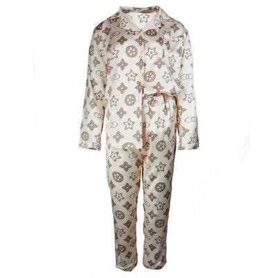 JAIMY Printed satin look pajamas beige