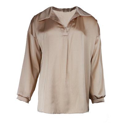 JAIMY Satin blouse v-neck beige