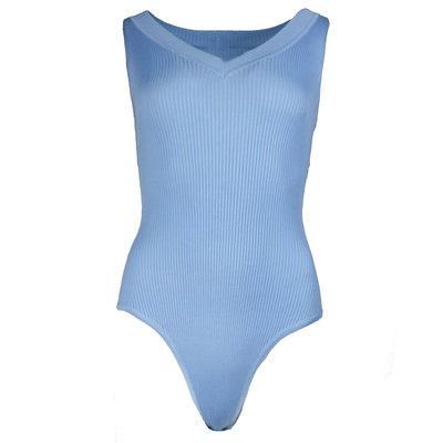 JAIMY Ribbed body v-neck light blue