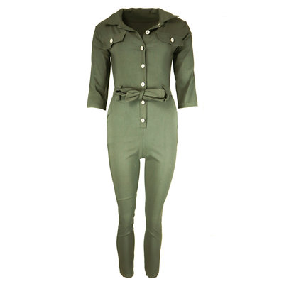 JAIMY Button up jumpsuit green
