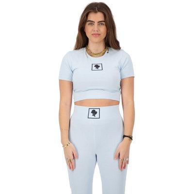 REINDERS Headlogo square t-shirt crop top baby blue