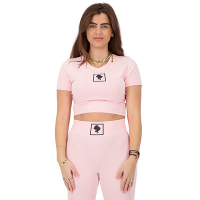 REINDERS Headlogo square t-shirt crop top baby pink