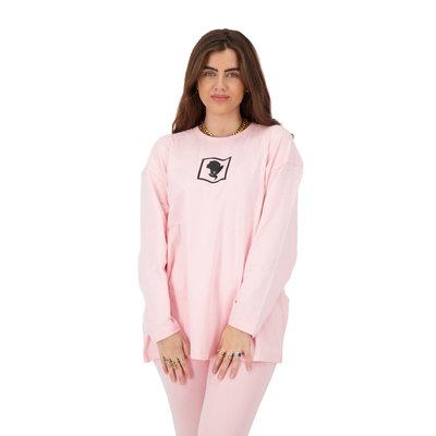 REINDERS Headlogo square t-shirt long sleeve baby pink