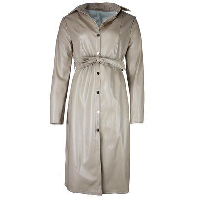 JAIMY Leather midi shirt dress beige