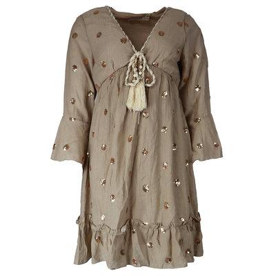 JAIMY Chloe ibiza dot dress taupe