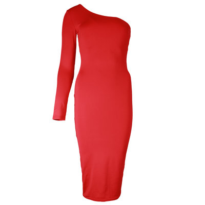 JAIMY One shoulder travel dress red
