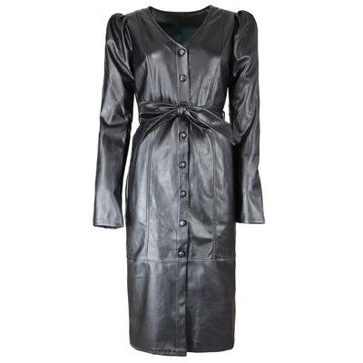 JAIMY Puff sleeve leather dress