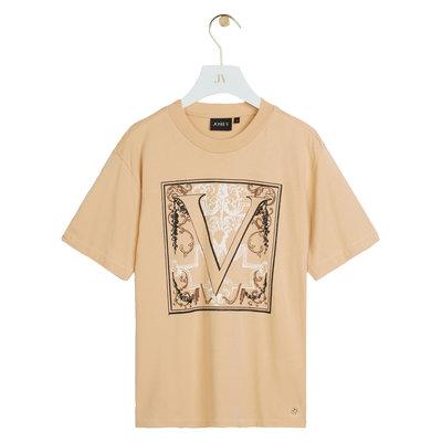 JOSH V Teddy baroque t-shirt latte