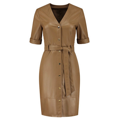 FIFTH HOUSE Mimi belted dress mocca