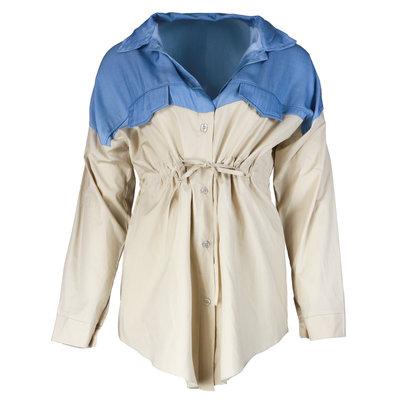 JAIMY Half denim blouse beige