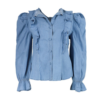 JAIMY Puff sleeve denim blouse