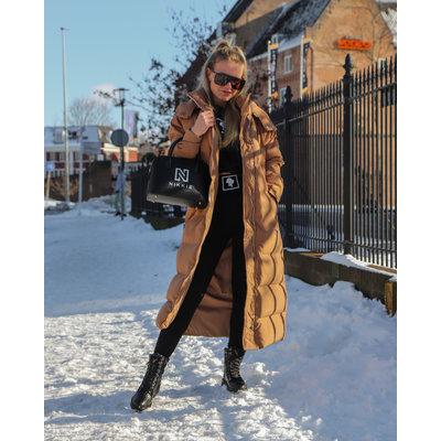 JAIMY Button puffer hoody jacket long camel