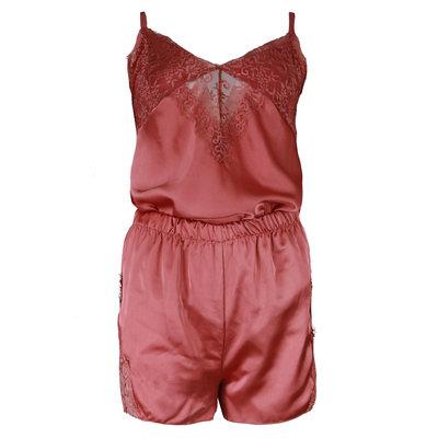 JAIMY Satin look 3-piece lace pajamas rose