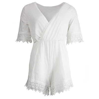 JAIMY Xenia crochet playsuit white