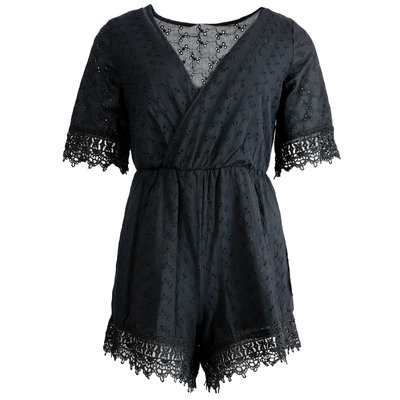JAIMY Xenia crochet playsuit black