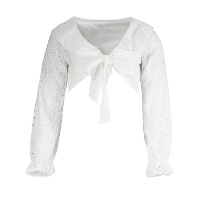 JAIMY Cropped crochet tie blouse