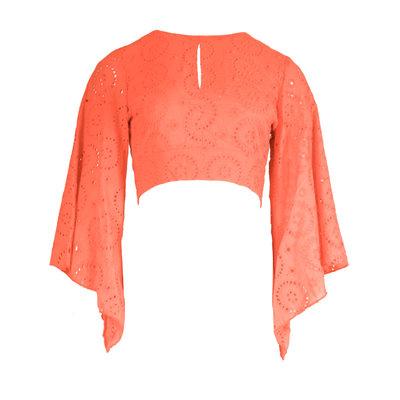 JAIMY Open back crochet top orange