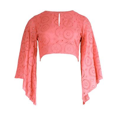 JAIMY Open back crochet top pink
