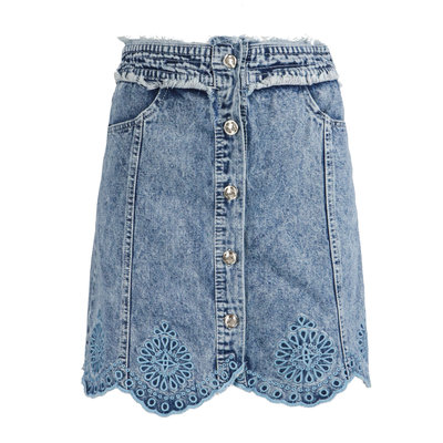 JAIMY Embroidery denim skirt blue