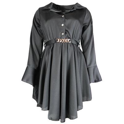 JAIMY Satin chain detail blouse dress black