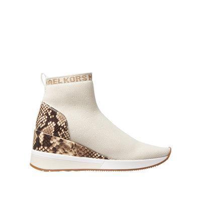 MICHAEL KORS Skyler stretch knit and snake embossed sock sneaker