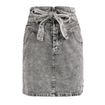 JAIMY Paperbag denim skirt grey
