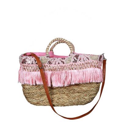 JAIMY Fringe beach bag pink